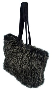 INC International Concepts Faux Fur I.n.c Tote in Black W/Silver Tips
