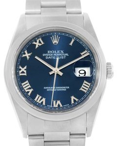 Rolex Rolex Datejust Steel Blue Roman Dial Oyster Bracelet Mens Watch 16200