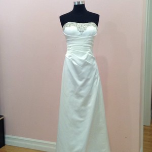 Alfred Angelo Ivory Satin Formal Wedding Dress Size 8 (M)