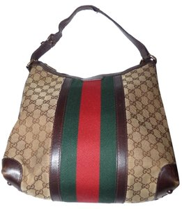 Gucci Xl Satchel in brown large G logo with red/green stripe canvas and brown leather