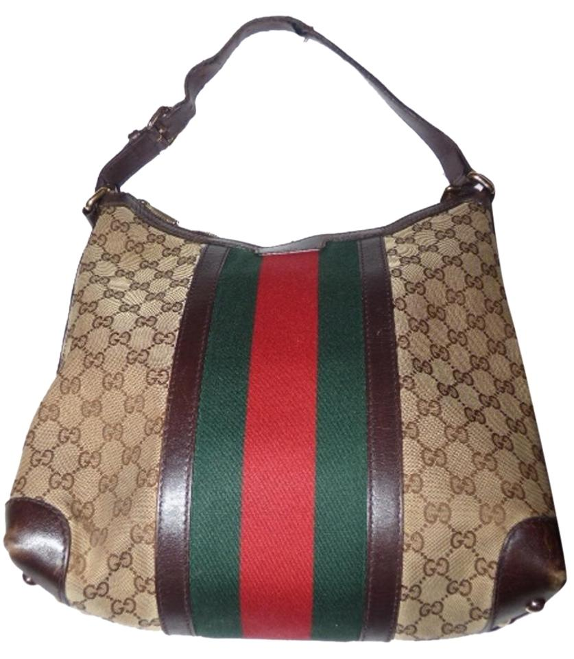 2d76f443b8b Gucci Xl Hobo Satchel Tote Xl Red Green Gold Hardware Excellent Condition  Signature ...