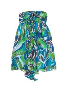MILLY short dress Green Blue Leaf Print Strapless on Tradesy