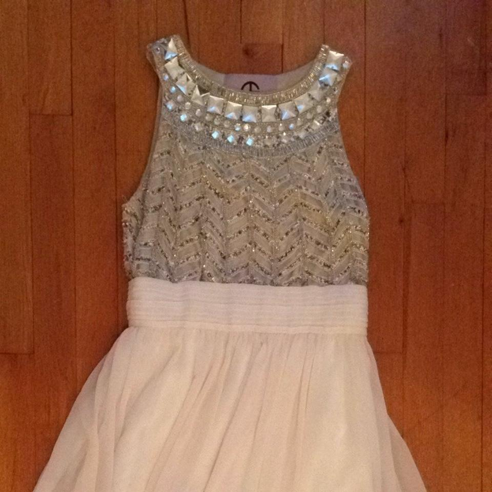 JS Collections Silver/Ivory Embellished Chiffon Gown Formal Dress ...