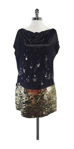 Diane von Furstenberg short dress Black Gold Embellished on Tradesy