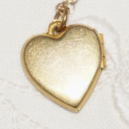 Vintage Vintage Gold Filled Engraved Flower Heart Locket Necklace Bridal