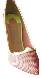 Christian Louboutin Hot Pink and Yellow Pumps