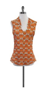 Babette Orange White Ruched Top