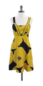 Moulinette Soeurs short dress Black Yellow Floral Silk on Tradesy