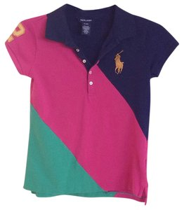 Ralph Lauren Cotton Color-blocking T-shirt Button Down Shirt Navy Blue/Dark Pink/Green