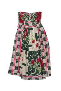Burning Torch short dress Red Green Floral Strapless on Tradesy