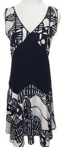 BCBGMAXAZRIA short dress White. Navy print Light Holiday on Tradesy