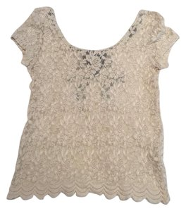Pins and Needles T Shirt Cream with Black Bow