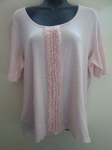 Chico's Ruffled Striped Knit Cotton Casual Top Pink & White