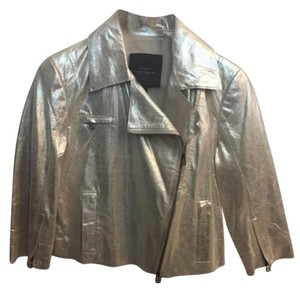 Robert Rodriguez Leather Metallic Gold Leather Jacket