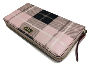 Kate Spade Kate Spade Newbury Lane Printed Neda Wallet Clutch WLRU2577 Plaid Pink