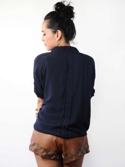 Unknown Made In Itally Button Down Shirt Navy Blue