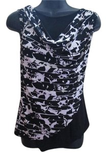 White House | Black Market Abstract Floral Formal Cowl Neck Top Black & White