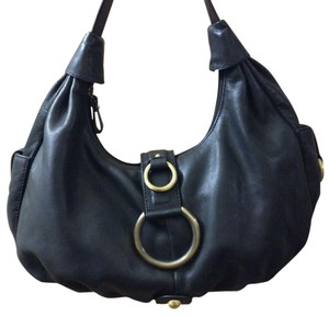 Michael Rome Leather Gold Hardware Soft Geniune Satchel in Black