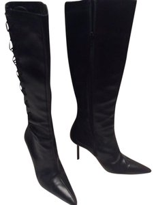 Manolo Blahnik Leather Lacing black Boots