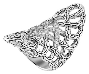 John Hardy John Hardy Sterling Silver Classic Chain' Diamond Saddle Ring