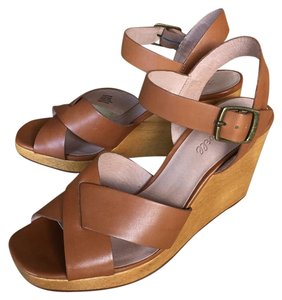 Madewell Crisscross Strap Wood Brown Wedges