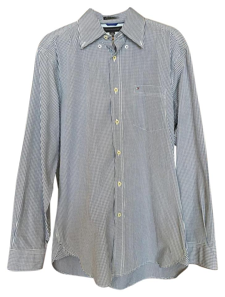 Navy check shirt size m tradesy for Tommy hilfiger shirt size