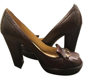 Coach Leather Chunky Loafer Platforms