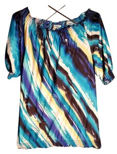 Cache Summer Vibrant Stunning Top Multicolored; blue, black, yellow, white, turqoise