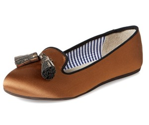 Charles Philip Shanghai Tassels Classic Satin Comfortable Copper/Bronze Flats