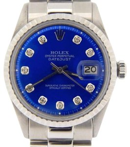 Rolex Rolex Datejust Stainless Steel W President Band Submariner Blue Diamond Dial