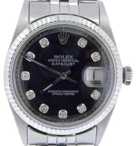 Rolex Rolex Datejust Mens Stainless Steel Watch Jubilee W Black Diamond Dial 1601
