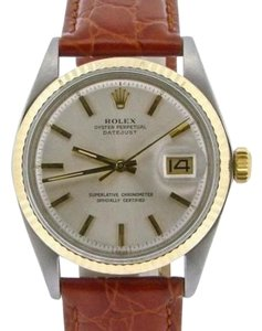 Rolex Rolex Datejust Mens 2tone 14k Yellow Gold Stainless Steel Watch W Silver Dial