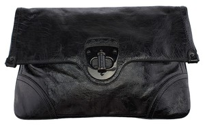 Alexander McQueen Envelope Leather Black Clutch