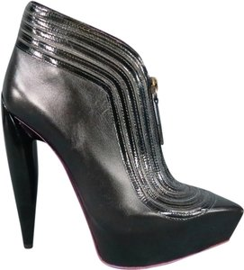 MCQ by Alexander McQueen Patent Pointed Toe Hidden Bootie Black Platforms