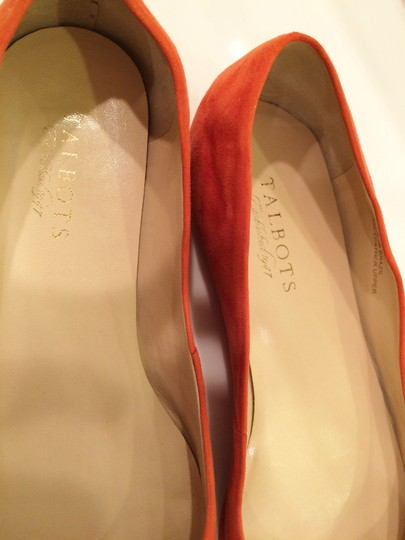 Talbots Leather Pointed Toe Tangerine Color Leather Upper Orange Suede Flats