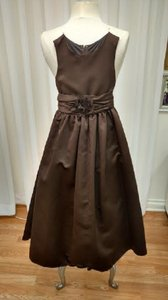 Chocolate Satin Flower Girl Formal Bridesmaid/Mob Dress Size Petite 6 (S)