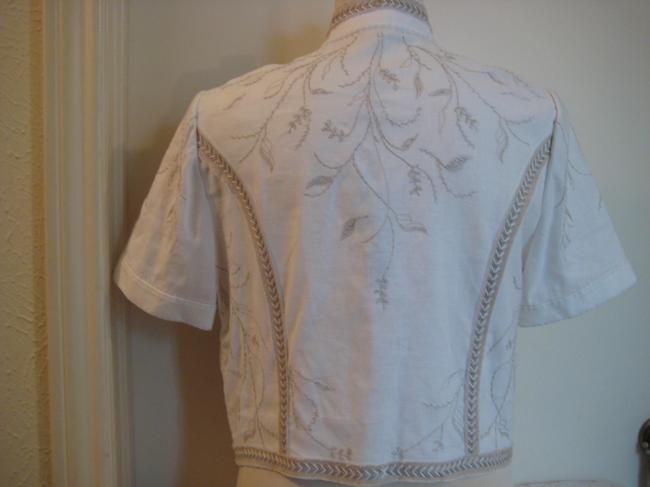 Elie Tahari Embroidered Top White & Taupe Image 1