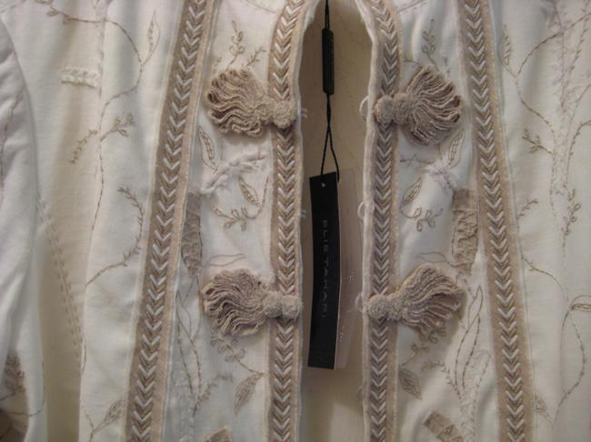 Elie Tahari Embroidered Top White & Taupe Image 6