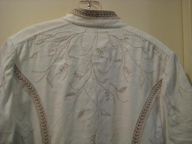 Elie Tahari Embroidered Top White & Taupe Image 8
