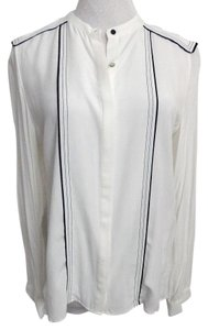 Zara Black Trim Epaulets New Sz Medium Top White