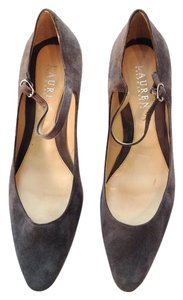 Ralph Lauren Maryjane Heels Suede Heels Grey Pumps