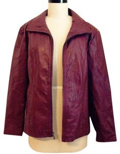 Kenneth Cole Reaction Burgandy Leather Jacket