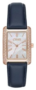 Chaps Chaps Women's Reece Blue Leather and Rose Gold-Tone Watch CHP1021
