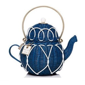 Kate Spade Wicker Teapot Blue Clutch
