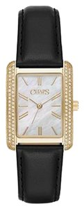 Chaps Chaps Women's Reece Black Leather and Gold-Tone Watch CHP1020