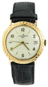 Ulysse Nardin Ulysse Nardin Vintage 18K Solid Gold and Black Leather Watch