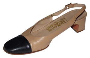 Salvatore Ferragamo Dressy Or Casual Spectator Style Almond Toe/low Heel Excellent Condition Slingback Style taupe leather & black patent leather Pumps