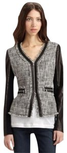 Rebecca Taylor Tweed Tweed Jacket Tweed Leather Tweed Blue and black Blazer