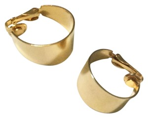 Other Gold Toned Wide Hoop Earrings Vintage 1980s Clip-On