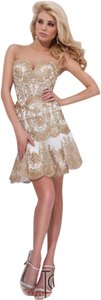 Tony Bowls Gold Embellished Lace Strapless Sparkle Dress